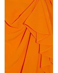 ROKSANDA Orange Draped Crepe Silk-blend Skirt