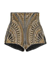 Balmain | Gold Embellished Leather Shorts | Lyst