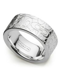 COACH | Metallic Sterling Signature Band Ring | Lyst