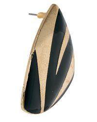 ASOS - Black Palm Stripe Stud Earrings - Lyst