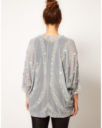 ASOS Gray Kimono with Petal Embellishment