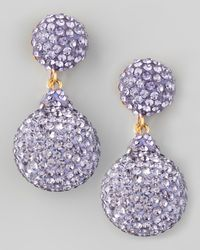 Jose & Maria Barrera | Purple Pave Crystal Doubledrop Earrings Lavender | Lyst