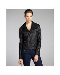 Kenneth Cole Reaction - Black Faux Leather Asymmetrical Zip Moto Jacket - Lyst