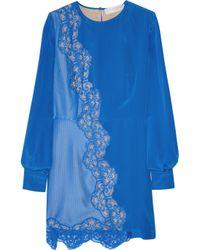 Stella McCartney   Blue Crepe De Chine Lace Dress   Lyst