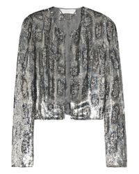 Stella McCartney | Metallic Cropped Sequin-embellished Crepe Jacket | Lyst