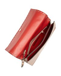 Valentino | Pink Rockstud Leather Clutch | Lyst