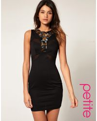 ASOS Collection | Black Asos Mesh Bodycon Dress with Jewelled Collar | Lyst