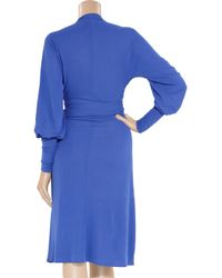 Issa Blue Plunge-front Crepe Dress