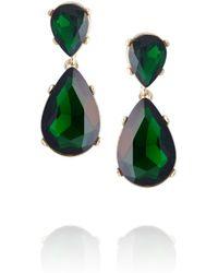 Kenneth Jay Lane | Green Goldtone Crystal Drop Earrings | Lyst