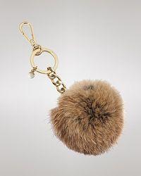 Michael Kors - Brown Michael Key Chain Fur Pom Pom - Lyst