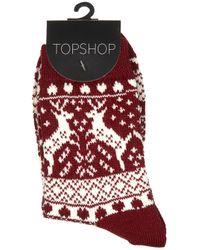 Topshop | Red Wine Reindeer Fairisle Socks | Lyst