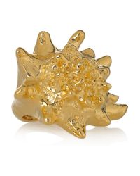 Kenneth Jay Lane | Metallic 22karat Goldplated Shell Ring | Lyst