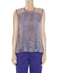 Reed Krakoff Purple Paillette-embellished Silk Top