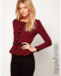 ASOS Red Peplum Jacket with Embellishment