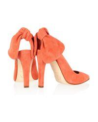 Carven - Orange Suede Slingbacks - Lyst