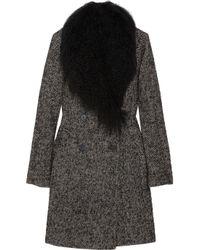 MICHAEL Michael Kors - Black Shearling Trimmed Tweed Coat - Lyst