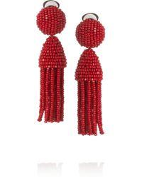 Oscar de la Renta Purple Short Beaded Tassel Clip-on Earring