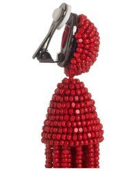 Oscar de la Renta - Purple Short Beaded Tassel Clip-on Earring - Lyst