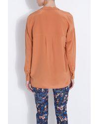 Vince - Orange Silk Detail Blouse - Lyst