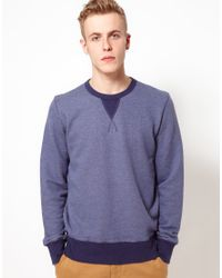 YMC | Blue Sweatshirt with Contrast Rib for Men | Lyst