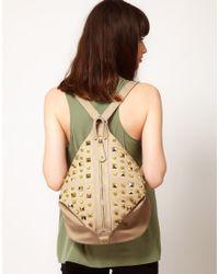 ASOS - Natural Studded Backpack - Lyst