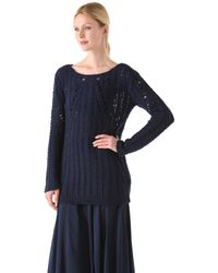 Donna Karan New York | Blue Long Sleeve Top | Lyst
