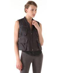 Donna Karan New York | Black Zip Leather Vest | Lyst
