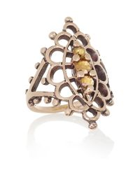 Laurent Gandini | Metallic Anello Navette 9karat Rose Gold Diamond Ring | Lyst