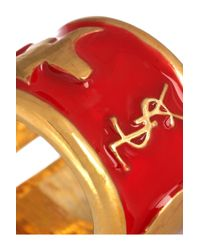 Saint Laurent Metallic Ycons Enameled Goldplated Ring