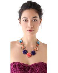 Erickson Beamon Multicolor Rose Garden Bib Necklace