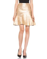 Hervé Léger | A- Line Skirt in Gold | Lyst