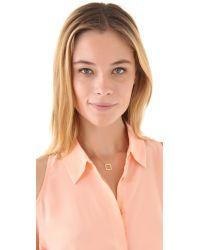 Jennifer Zeuner Metallic Small Open Square Necklace