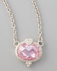 Judith Ripka - Metallic Pink Heart Pendant Necklace - Lyst