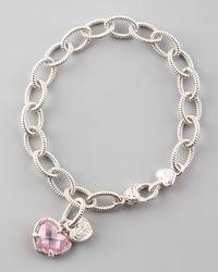 Judith Ripka | Metallic Heart Charm Bracelet | Lyst