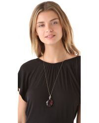 Juicy Couture Metallic Sloane St Stroll Long Crystal Pendant Necklace