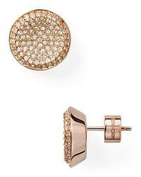 Michael Kors | Metallic Concave Pave Stud Earrings | Lyst