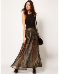 River Island | Chelsea Girl Metallic Lace Maxi Skirt | Lyst