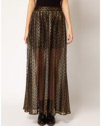 River Island - Black Chelsea Girl Metallic Lace Maxi Skirt - Lyst
