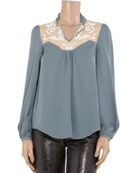 Temperley London Blue Aphrodite Silk-crepe and Lace Blouse