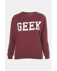 Topshop   Red Geek Sweatshirt Petite   Lyst
