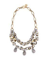 Tory Burch Metallic Double Chain Diamanté Tear Drop Necklace