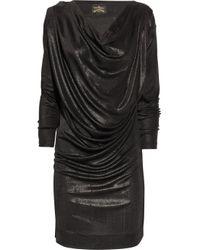 Vivienne Westwood Anglomania   Black Drape Metallic Stretch-Jersey Dress   Lyst