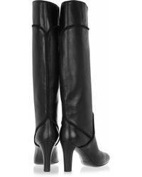 Saint Laurent Black Passy Leather Knee Boots