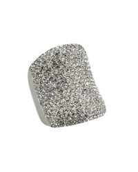 Michael Kors | Metallic Silver Tone Pave Concave Ring | Lyst