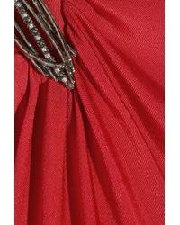 Roberto Cavalli Red One-shoulder Silk-jersey Dress