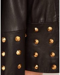 ASOS Collection Black Asos Stud Skirt in Leather