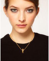 ASOS - Metallic Laying Cherub Pendant Necklace - Lyst