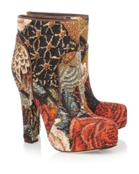 Dolce & Gabbana   Multicolor Tapestry Ankle Boots   Lyst