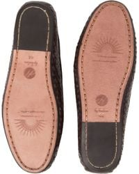 H by Hudson Brown Cabana Wovenleather Boat Shoes for men