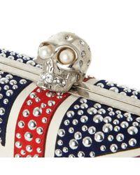 Alexander McQueen Red Union Jack Skull Box Clutch